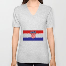 Extruded flag of Croatia Unisex V-Neck
