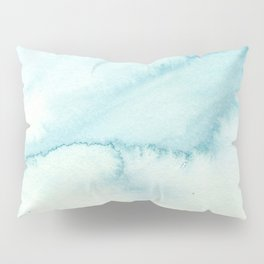 Abstract hand painted blue teal watercolor paint pattern Pillow Sham