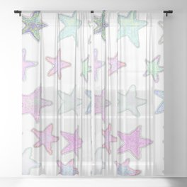 Funky Pastel Stars! Sheer Curtain