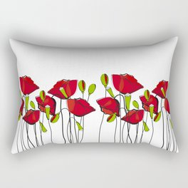 Whimsical Red Poppies Rectangular Pillow