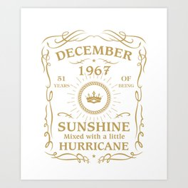 December 1967 Sunshine mixed Hurricane Art Print