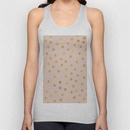 Rose gold polka dots - caramel sand Unisex Tank Top