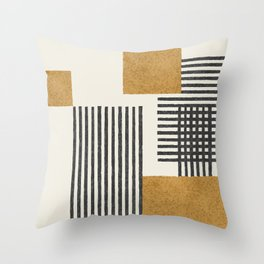 Stripes and Square Composition - Abstract Throw Pillow