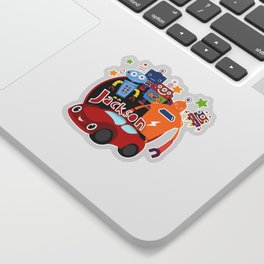 Jax-Red Car + Robots Sticker