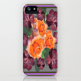 Black-Brown-Red Leafs golden Roses Purple Decorative Art   iPhone Case