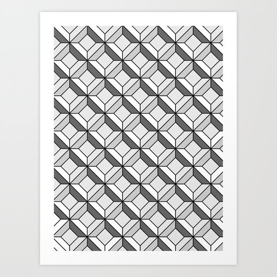 Squares in Gray Art Print