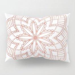 Mandala Posy Flower Rose Gold on White Pillow Sham