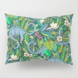 Improbable Botanical with Dinosaurs - dark green Pillow Sham