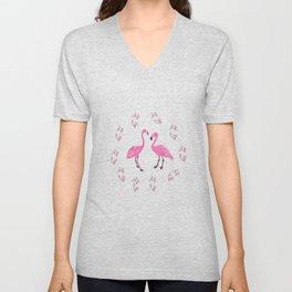 Pink Flamingo Birds  Unisex V-Neck