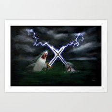 Shark vs. Narwhal  Art Print