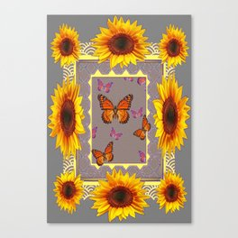 Southwestern Style Sunflowers Butterflies  Grey Ranch Design Canvas Print