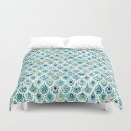 PEACOCK MERMAID Nautical Scales and Feathers Duvet Cover