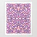 Purple Vines Folk Art Flower Pattern by sewzinski