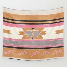 Rustic Tribal Pattern in Raw Sienna, Strawberry and Ash Wall Tapestry