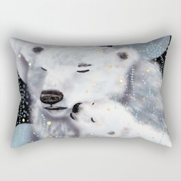 Mom and Baby // Winter polar bears  Rectangular Pillow