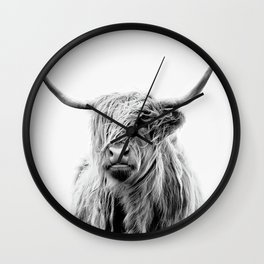 portrait of a highland cattle Wall Clock