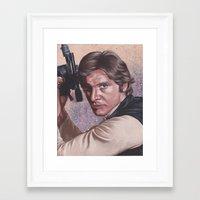 han solo Framed Art Prints featuring Han Solo by bdevennyart
