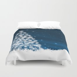 Blue Christmas Eve Snowflakes Winter Holiday Duvet Cover