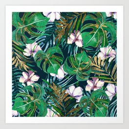 Tropical forest green lilac gold monster leaves floral Art Print