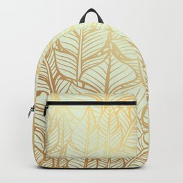Bohemian Gold Feathers Illustration With White Shimmer Backpack