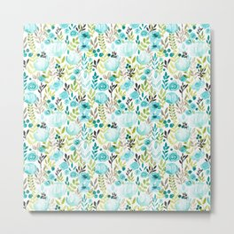 Watercolor/Ink Aqua Blue Floral Painting Metal Print