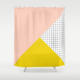 Mustard and Blush Tri Grid Shower Curtain