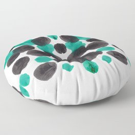 Turquoise Green And Black Inkblot Bubble Pattern Rorschach Test Floor Pillow