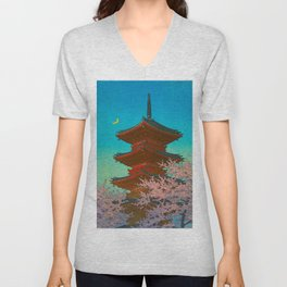 Vintage Japanese Woodblock Print Pastel Colors Blue pink Teal Shinto Shrine Cherry Blossom Tree Unisex V-Neck