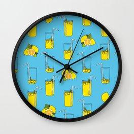 Blue Lemonade Pattern Wall Clock