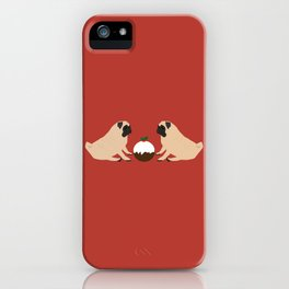 Christmas Pudding and Pugs iPhone Case