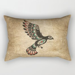 Red and Green Haida Spirit Flying Bird Rectangular Pillow