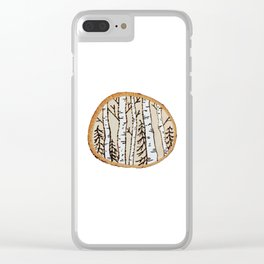 Winter Forest Scene Wood-burned Painting — Pyrography White Forest Pine Tree Painting Clear iPhone Case