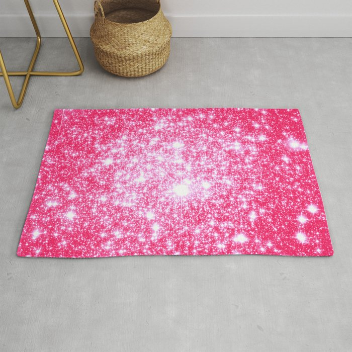 Hot Pink Galaxy Stars Sparkle Rug