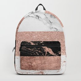 Modern chic color block rose gold marble stripes pattern Backpack