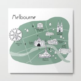 Mapping Melbourne - Green Metal Print