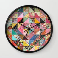 fabric Wall Clocks featuring Grandma's Quilt by Rachel Caldwell