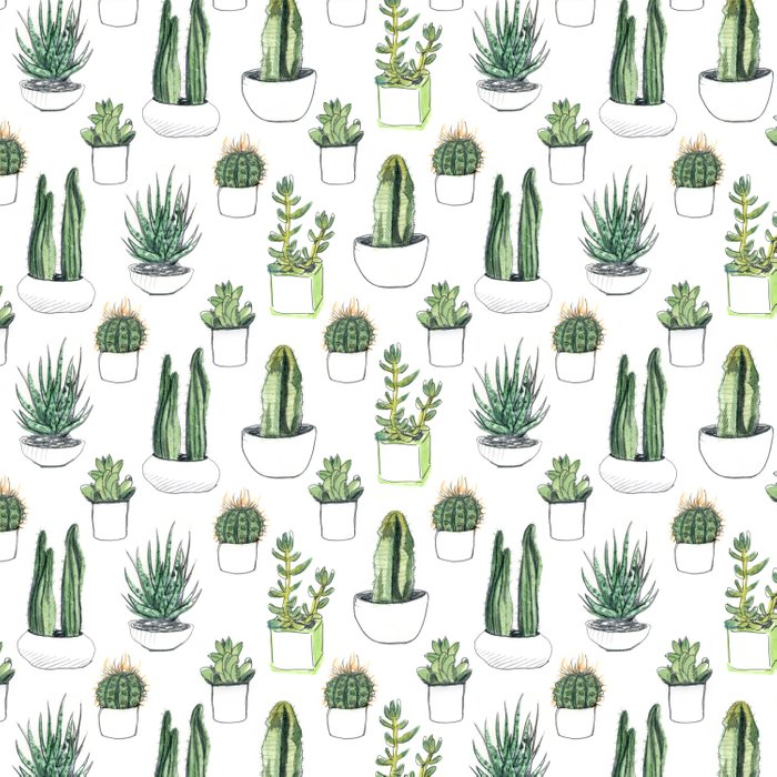 Watercolour Cacti & Succulents Duvet Cover