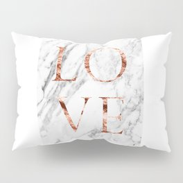 Rose gold marble LOVE Pillow Sham