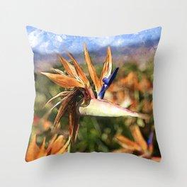 Crane Flower | Watercolor Throw Pillow