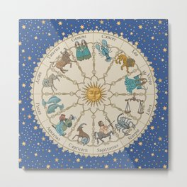 Vintage Astrology Zodiac Wheel Metal Print
