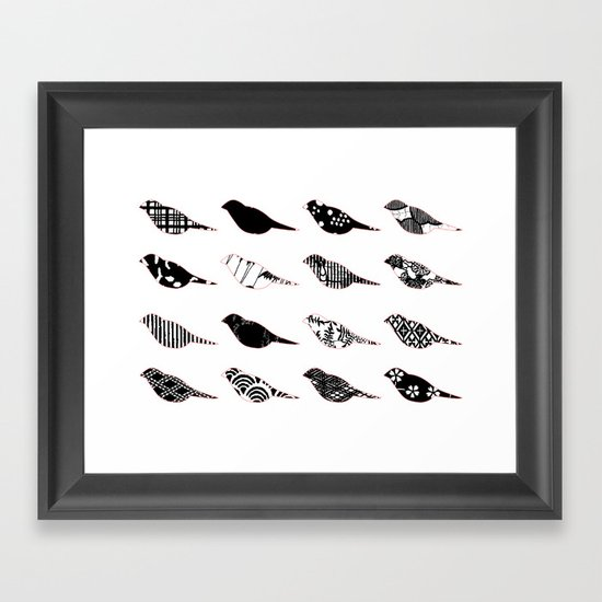 Monochromatic Patterned birds Framed Art Print