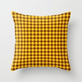 Amber Orange and Chocolate Brown Diamonds Throw Pillow