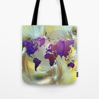 world map Tote Bags featuring World Map by Roger Wedegis