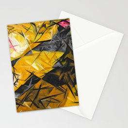 Cats in motion in rose, black, and yellow colorful abstract portrait painting by Natalia Goncharova: Stationery Cards