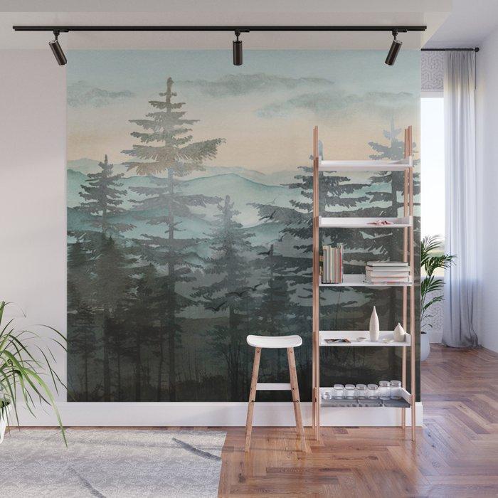 Pine Trees Wall Mural by nadja1 Society6