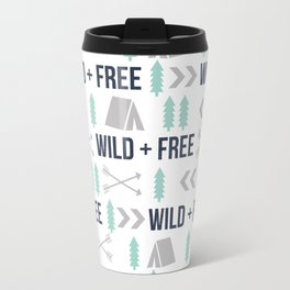 Camper wild and free minimal nursery basic grey navy mint white camping cabin chalet decor Travel Mug