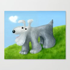 Dog With Cloud Heart Canvas Print