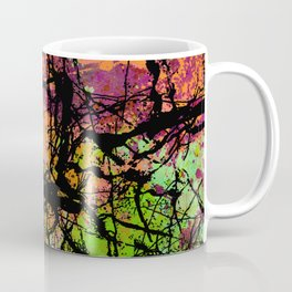 Cracks And Colour - Pastel orange, blue and green abstract with black marble effect Coffee Mug