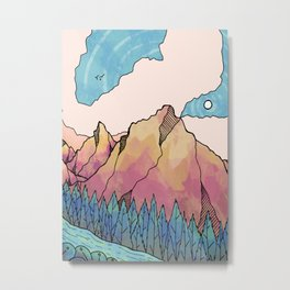 Blue forest mountains Metal Print