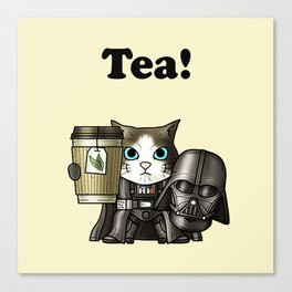 Tea Vadercat Cream Canvas Print
